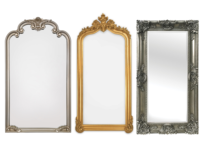three ornate mirrors